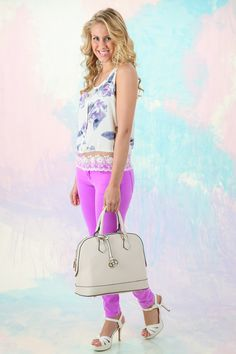 Hello Gorgeous! Must have watercolor flowers tank with lace hem! Obsessed!