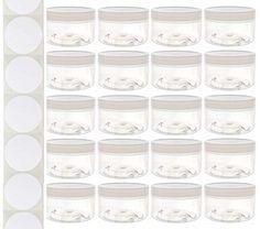 Set of twenty jars with easy-grip, white, screw-on lids.