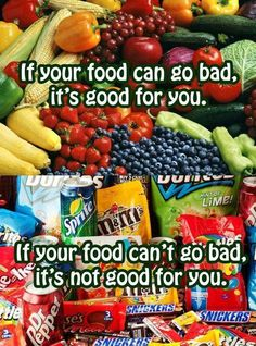 If your food can go bad, it's good for you.  If your food can't go bad it's not good for you. Most of the time...
