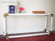Faux Bamboo & Brass Console Table {by: Phoenix Restoration} Featuring @General Finishes Snow White Paint and Satin Topcoat #phoenixrestoration #generalfinishes #snowwhite #milkpaint #satin #glam #hollywoodregency #furnituremakeover #diy #brass