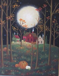 November Moon * by KimsCottageArt Illustrations, Illustration Art, Primitive Folk Art, Primitive Snowmen, Primitive Crafts, Primitive Christmas, Country Christmas, Christmas Snowman, Christmas Trees