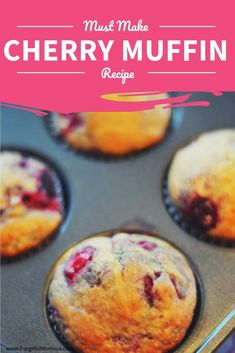 cherry vanilla muffins recipe Cherries will be in season soon, so keep this recipe for cherry vanilla muffins close. They are the perfect combination of tart and sweet. Cherry Desserts, Cherry Recipes, Cherry Ideas, Cherry Cake Recipe, Gourmet Recipes, Baking Recipes, Dessert Recipes, Sweet Recipes, Vanilla Muffin Recipe