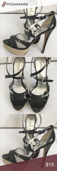 Guess Women's Sandals High Heels Shoes Size 9M Guess Women's Sandals Platform High Heels Black Strapped Shoes Size 9M Guess Shoes Heels