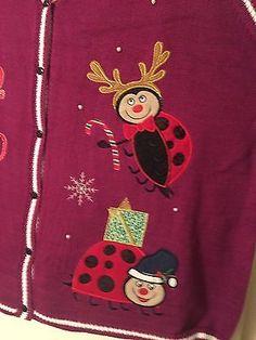 Ugly Christmas Sweater Vest Sleeveless Lady Bugs Women's Plus Size 26 28 NWT