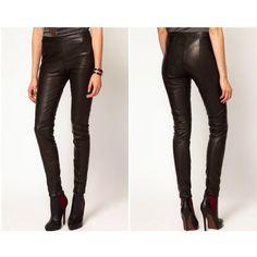 Womens Sharp Black Leather Pants