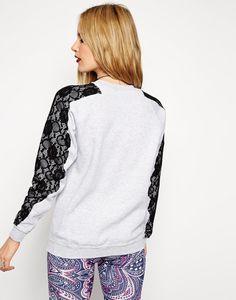 Sleeve lace stitching sweatshirt