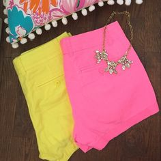 J.Crew Neon pink & yellow chino shorts 2 pairs of J.Crew neon chino shorts! Awesome summer shorts or if you live in the south, year round attire! Get these while you can. Excellent condition, both worn once maybe twice! I see girls wearing these to class all the time, they just no longer fit me and forgot about them in my closet! Bundle and save! :) J. Crew Shorts