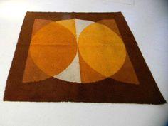 op art geometric 60's 70's eames panton loft Mid Century Modern Vintage Shag Rug #218