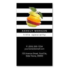 Nutritionist Fruits Logo - Black White Stripes Double-Sided Standard Business Cards (Pack Of 100)