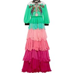 Gucci Velvet-trimmed embellished tiered silk-chiffon gown (460,815 MXN) ❤ liked on Polyvore featuring dresses, gowns, gucci, vestidos, light green, tiered dress, embroidery dresses, tiered ruffle dress, red evening gowns and red evening dresses