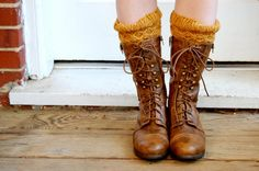 Knitted Boot Cuffs Boot Toppers in Mustard Yellow Wool by adknit, $25.00