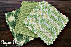 Crocheted Seed Stitch Dishcloth Pattern - three finished dishcloths