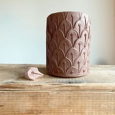 This little stamp is a simple one. I love watching the pattern emerge as it is repeated. Reminiscent of peacock feathers or maybe flower… Ceramic Studio, Ceramic Clay, Ceramic Pottery, Pottery Tools, Pottery Classes, Make Your Own Pottery, Beginner Pottery, Slab Ceramics, Clay Stamps