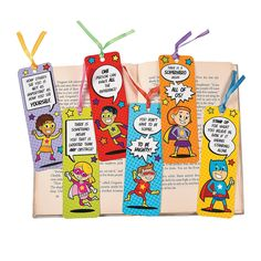 Laminated+Superhero+Bookmarks+-+OrientalTrading.com