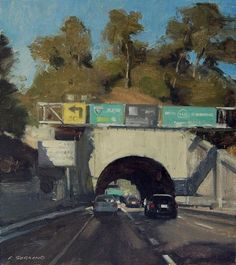 I know this section of the Pasadena Freeway very well. Road Painting, Building Painting, Urban Landscape, Landscape Art, Landscape Paintings, California Art, Plein Air, Portraits, Beautiful Paintings
