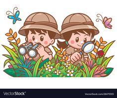 Safari boy and girl vector image on VectorStock Cartoon Logo, Cartoon Design, Cartoon Pics, Cartoon Drawings, Preschool Jungle, Preschool Themes, Image Halloween, Jungle Theme Classroom, Safari