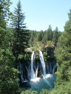 Burney Falls, the 1st-2nd largest waterfall in CA. The water streaming out of the middle of the waterfall comes from an aquifer