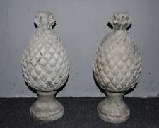 2 Vintage Pineapple Cement Concrete Garden & Yard Statues Lawn Ornaments