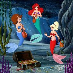 Ariel, Aquata & Arista [all as mermaids] (Family by Fernl @deviantART) #TheLittleMermaid