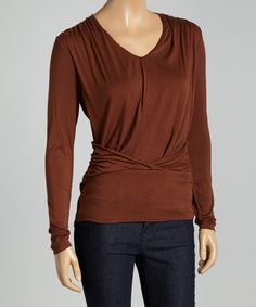 Cocoa Brown Banded V-Neck Top by Colour Works