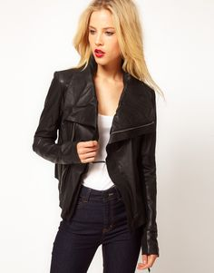 Drape collar fitted Leather Jacket