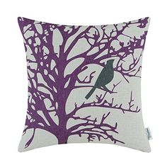 CaliTime Canvas Throw Pillow Cover Case for Couch Sofa Home Cute Bird Tree Branches Silhouette 18 X 18 Inches Purple Black >>> You can get additional details at the image link.-It is an affiliate link to Amazon. #DecorativePillowsInsertsCovers