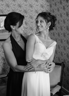 Mother of the bride and beautiful bride