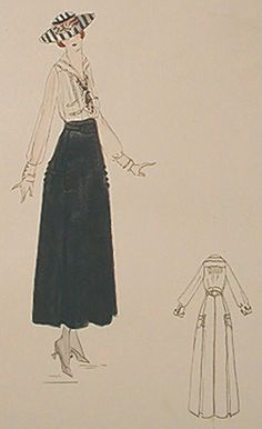 Lucile's 1916 sport dress is simplicity itself. The only notes of complexity in the skirt are pockets. The skirt folds provided room for leg movement within the confines of a narrow skirt. The outline sketch shows the construction of blouse and skirt.