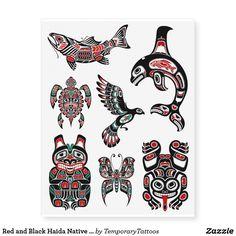 Colección animal nativa del Haida rojo y negro Tatuajes Temporales   Zazzle