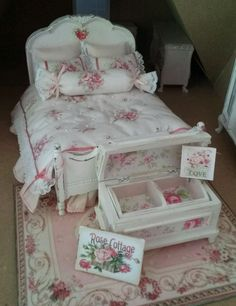 1:12 dollhouse miniature shabby chic double bed - artisan made