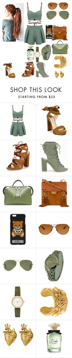 """Young fashion # 168"" by demacracy ❤ liked on Polyvore featuring Jimmy Choo, Lipsy, Nly Shoes, Jil Sander, Chloé, Moschino, Oakley, Ray-Ban, Rolex and Skagen"