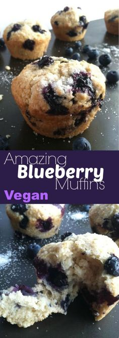 Amazing Blueberry Muffins Vegan these are the best weekend breakfast with some coffee or tea serve them warm and relax Vegan Treats, Vegan Foods, Vegan Dishes, Vegan Vegetarian, Vegan Keto, Dairy Free Recipes, Vegan Recipes, Essen To Go, Cocina Natural