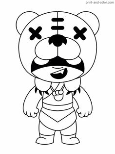 Printable Brawl Stars (Nita) PDF Coloring Pages. High quality free printable coloring, drawing, painting pages here for boys, girls, children . Star Coloring Pages, Printable Coloring Pages, Coloring Books, Crows Drawing, Paper Drawing, Star Party, Free Printables, Geek Stuff, Stars