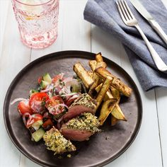 Mint mixed with panko breadcrumbs makes for a delicious, crunchy coating to these beautiful lamb rump steaks. Rump Steak, Kalamata Olives, Cherry Tomatoes, I Foods, Cucumber, Lamb, Mint