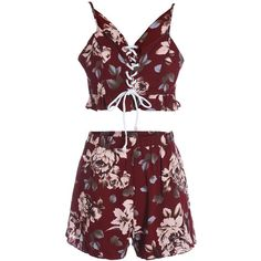 Spaghetti Straps Crop Top and Print Shorts Twinset (€27) ❤ liked on Polyvore featuring tops, outfit, red top, red spaghetti strap top, print top, crop top and pattern tops