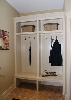 This could work for organizing jackets, bookbags, lunch boxes, and school stuff. Cubbies, Shelves, Locker Organization, Organization Ideas, Organizing, Mudroom Laundry Room, Closet Mudroom, Entry Closet, Utility Closet
