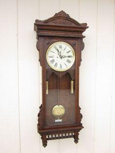 Waterbury Regulator #57 Wall Clock in Oak - Victorian Elegance!