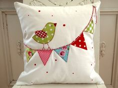pillow - pennant, bunting, bird, polka-dots