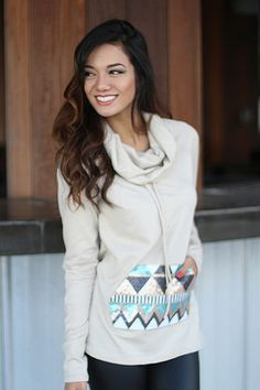 Taupe Sequin Cowl Sweater