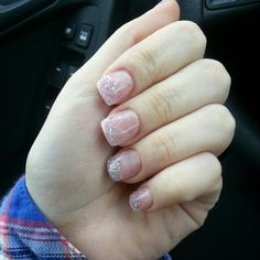 My nails :) 24/11/2012 silver and pink glitter acrylic nails