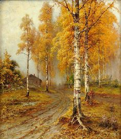 """Julius """"Golden Autumn"""" Oil painting has unique character-like properties that speak to you in a different way from other art forms, or photography. Russian Landscape, Landscape Art, Landscape Paintings, Autumn Painting, Autumn Art, Russian Art, Tree Art, Belle Photo, Oeuvre D'art"""
