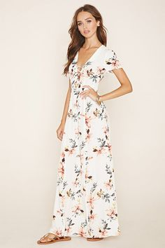 F21 Lace-Up Floral Maxi Dress (Cream/Multi) $27.90