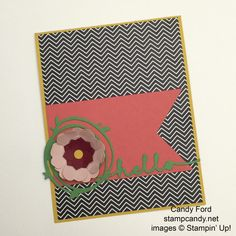 """stampcandy.net, Stampin' Up!, hello card, Greetings Thinlits, Swirly Scribbles Thinlits, Banners Framelits, Pansy Punch, Petite Petals Punch, 1/4"""" Circle Punch, Pop of Pink DSP, Crushed Curry, Watermelon Wonder, Cucumber Crush, Blushing Bride, Cherry Cobbler"""
