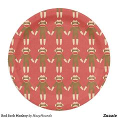 Red Sock Monkey Paper Plate