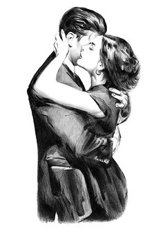 Pencil drawing of a couple embracing at the train station after time spent apart. Hand-drawn pencil drawing of a couple with an ivory black drawing pencil. Print is a copy of the original drawing.