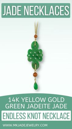 Green jade endless knot carving set with red and green jade accents on adjustable (18 or 22 inches) 14K yellow gold chain. Use discount code INSTA10JORDAN at checkout! Jade Necklace, Knot Necklace, Trendy Necklaces, Jade Green, Green Colors, Knots, Chain, Yellow, Earrings