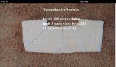 Tabela de medidas para casaquinhos e vestidinhos para bebês de 0 meses a 12 meses. (9987)