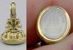 Antique Miniature Watch Fob w/ Carved Seal of SHIP reads  SUCH IS LIFE