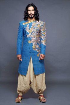 Indian Engagement Dress, Engagement Dresses, Indian Groom Wear, Indian Wear, Indian Style, Mens Sherwani, Blue Sherwani, Mens Kurta Designs, Indian Men Fashion
