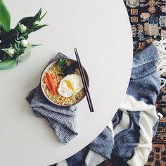 Fried egg Asian noodle bowl